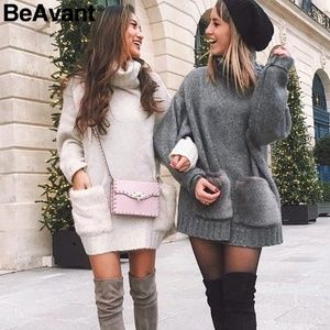 Dresses & Skirts - New Elegant Turtleneck Women Sweater Dress